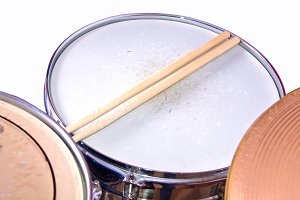 Snare drum and sticks. Music concept