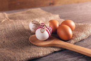 Easter eggs on table, breakfast
