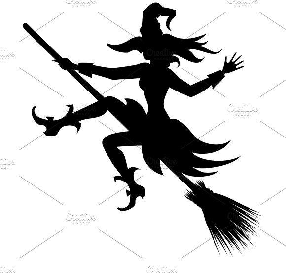 flying witch silhouette illustrations creative market