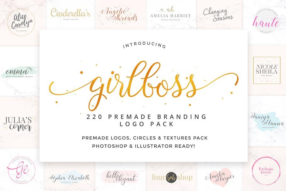 9fbb62c7d90ee Ladyboss Premade Branding Logos ~ Logo Templates ~ Creative Market