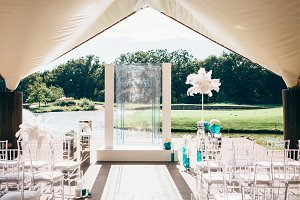 Wedding arch with white plume