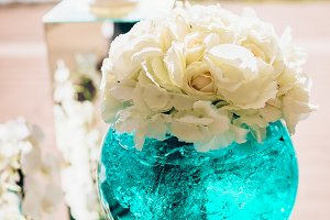 Wedding bouquet of white peon flowers