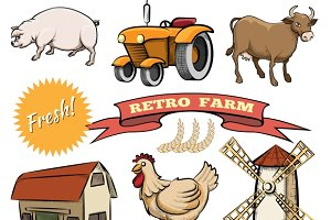 Retro Farm vector icons