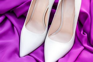 Pair of elegant brides white shoes
