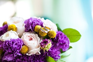 Wedding bouquet of pink and purple flowers