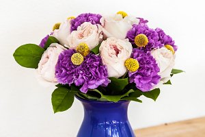 Wedding decorating bouquet of pink and purple flowers