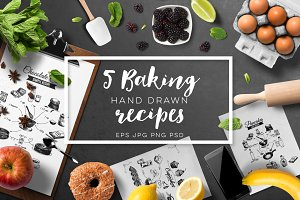 5 hand drawn bakery recipes