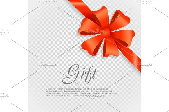 Gift Red Wide Ribbon Bright Bow With Two Petals
