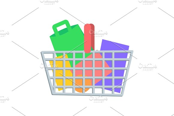 Shopping Basket With Goods Flat Vector Icon