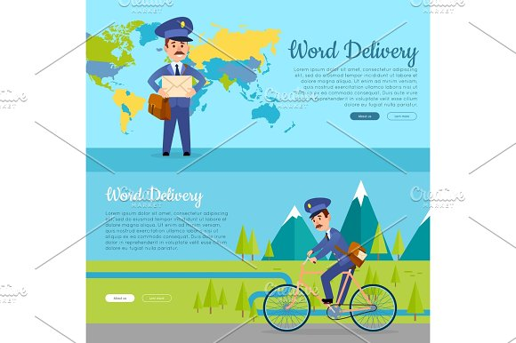 World Delivery Set Of Two Pictures With Postmen