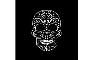 White skull vector ornament
