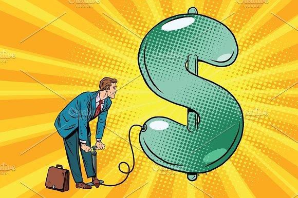 Retro Businessman Inflating The Dollar Balloon