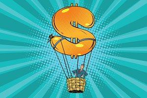 businessman in a hot air balloon dollar