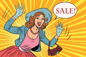 Retro lady enjoys the sale