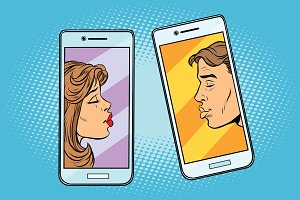 Retro boy and girl want to kiss via a smartphone