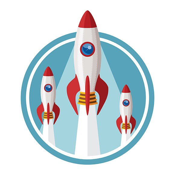 Space Rockets Startup Flat Style
