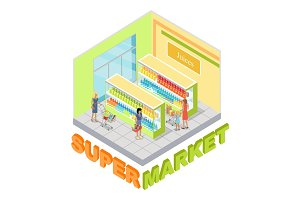 Supermarket Juices Department Isometric Vector