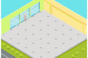 Empty Supermarket Interior Isometric Vector