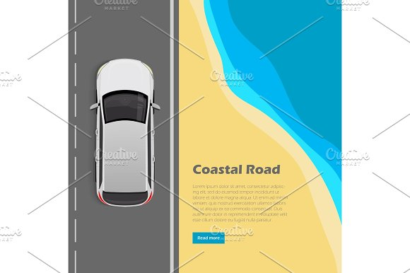 Coastal Road Conceptual Flat Vector Web Banner