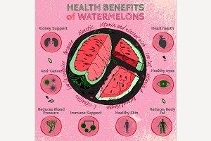 Watermelon Benefits Hand Drawn Image