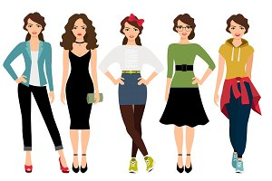 Women fashion styles illustration