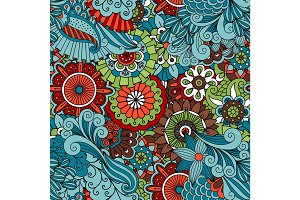 Colorful floral ethnic pattern