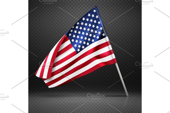 American Banner Wavy Flying Flag USA Flag Isolated On Transparent Background Vector Illustration