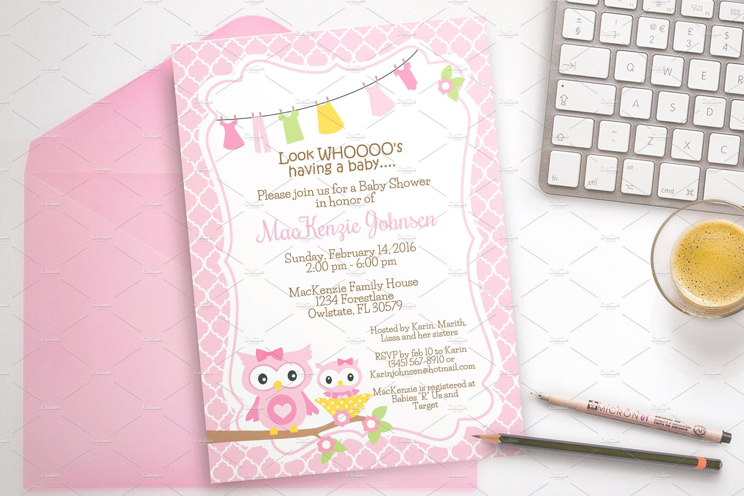 Owl Baby Shower Invitation Invitation Templates Creative Market