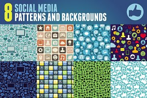8 patterns with social media icons