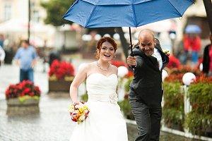 Bride runs from a groom
