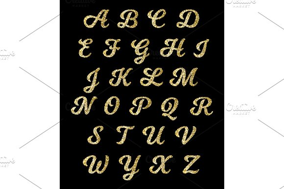 Golden Glitter Alphabet Gold Font Vector Letters With Sparkle Effect