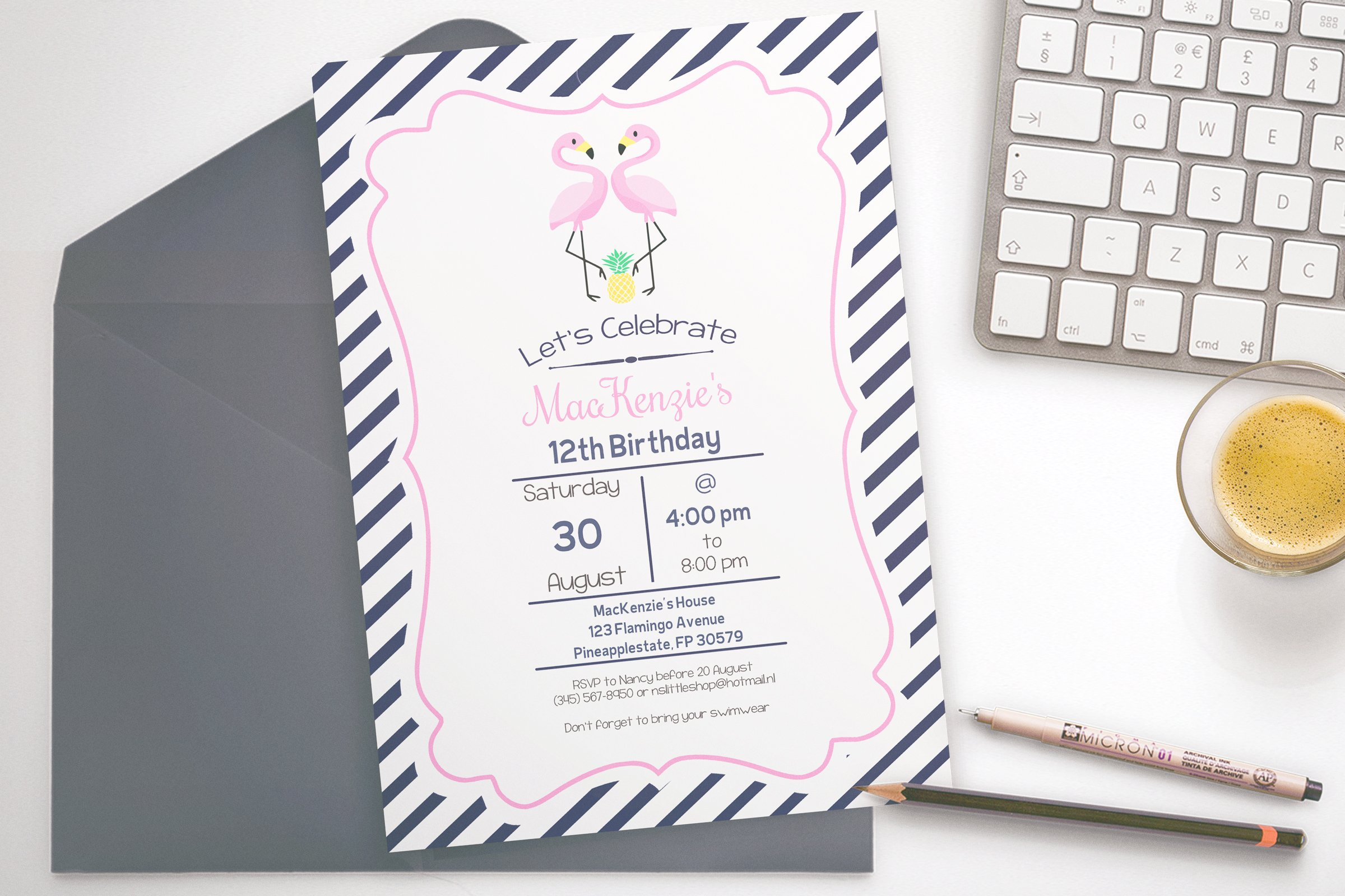 Flamingo Party invitation ~ Invitation Templates ~ Creative Market