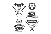 Vintage baseball sports, old vector logos and labels set with bats and softball