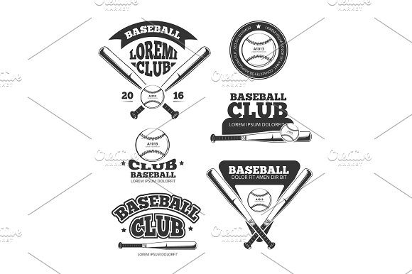 Vintage Baseball Sports Old Vector Logos And Labels Set With Bats And Softball