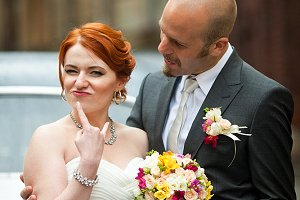 Rock'n'roll newlyweds couple