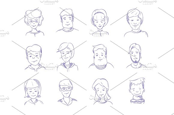 Doodle Human Heads Hand Drawn Adult Portraits Sketch People Characters Vector Set