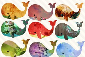 Collage Whales PNG Clipart
