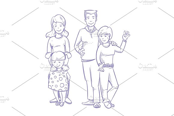 Happy Family With Young Children Hand Drawn Doodle Vector Illustration