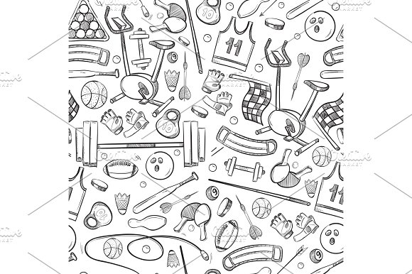 Sport And Fitness Doodle Hand Drawn Seamless Vector Healthy Background