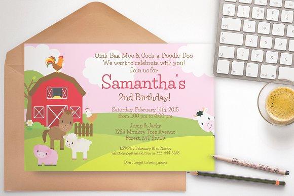 farm birthday party invitation pink invitation templates