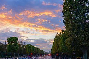 Paris, Champs Elysees sunset