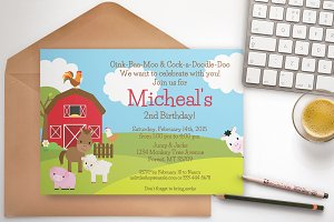 Farm Birthday Party invitation blue