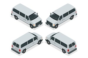 Commercial van icons set isolated on a white background. Flat 3d isometric illustration. For infographics and design