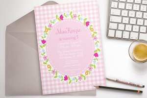 Pink Flower Party invitation