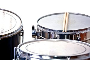 Drums on white background. Music.