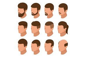 Isometric Businessman or male person character creation set. Collection of of men's hairstyles, hipster style isolation. Side view front of businessman. Vector elements for character animation