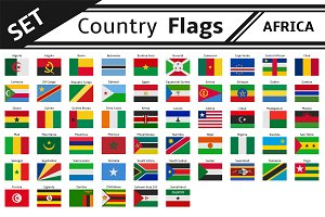 set countries flags africa