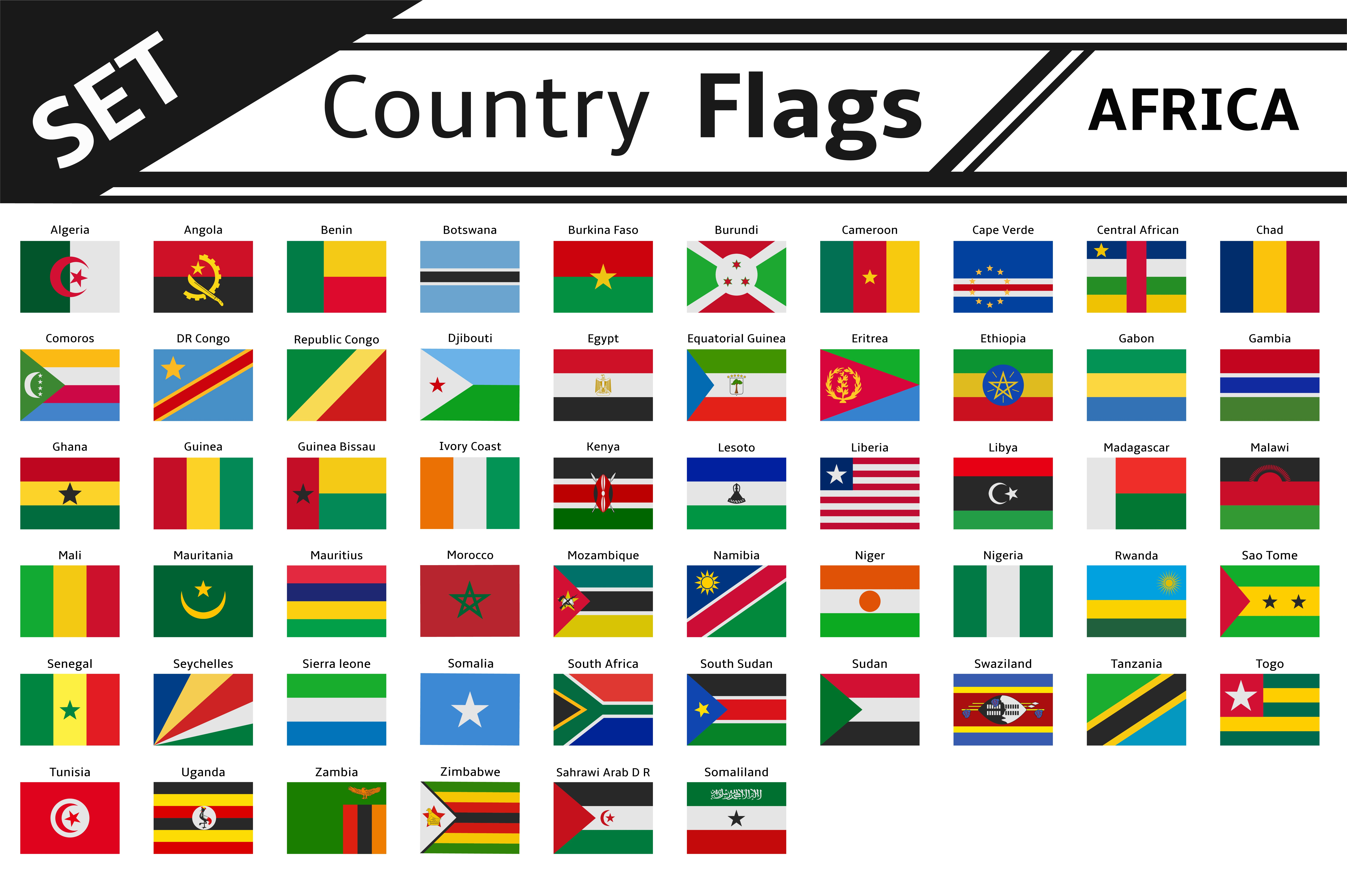 set countries flags africa illustrations creative market