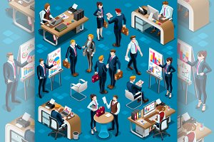 Isometric People Men Agreement 3D