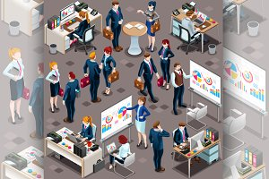 Isometric People Men Partnership 3D